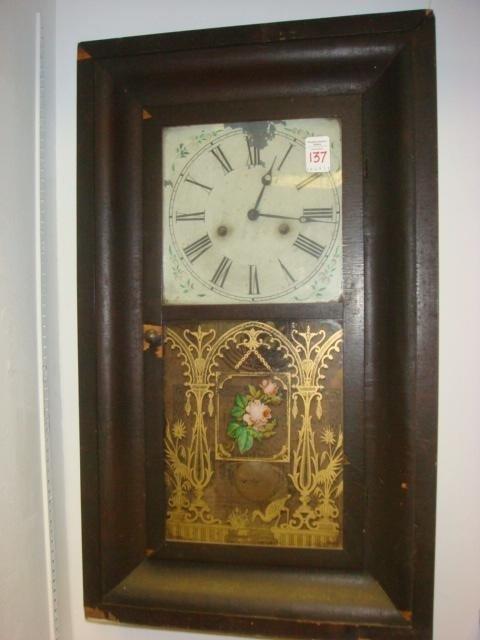 137: SOUTHERN CLOCK CO 1880 Mahogany Case Wall Clock:
