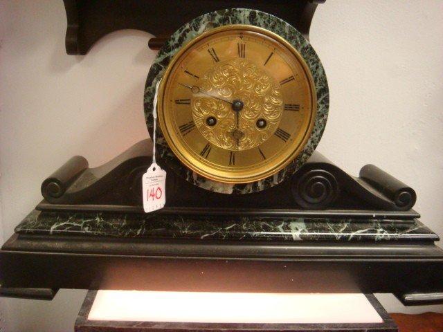 140: WILSON GANDAR 19thC Marble Accented Mantle Clock: