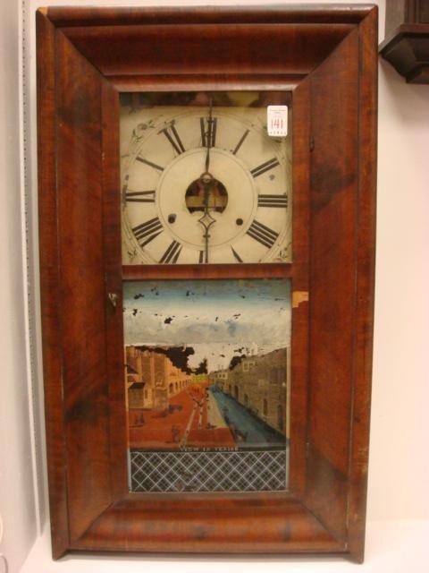 141: BIRGE PECK CO. Mahogany Reverse Painted Wall Clock