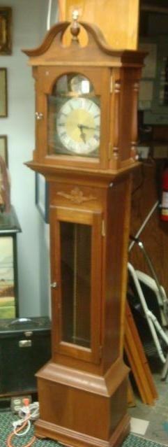 144: Mahogany Tall Pediment Top Case Clock, Westminster