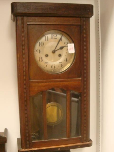 145: Antique Oak Case Wall Clock: