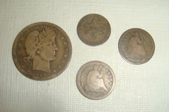 148: 4 Pieces US Silver Coinage Antique: