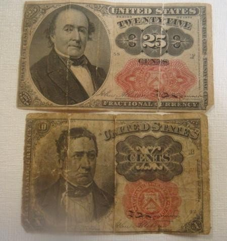 153: 10 Cent and 25 Cent US Fractional Currency: