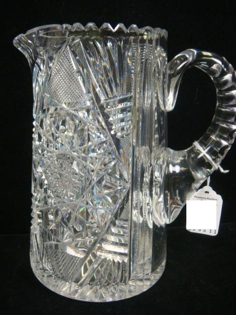 154: Heavy Lead Crystal Cut Glass Tankard Pitcher: