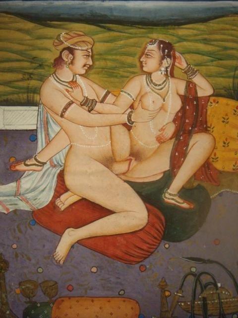 289: Kamasutra Erotic Miniature Painting On Paper: - 2