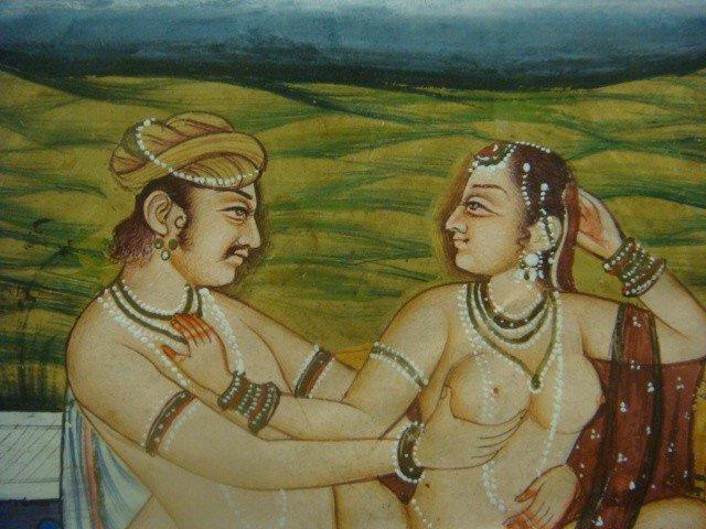 289: Kamasutra Erotic Miniature Painting On Paper: - 3