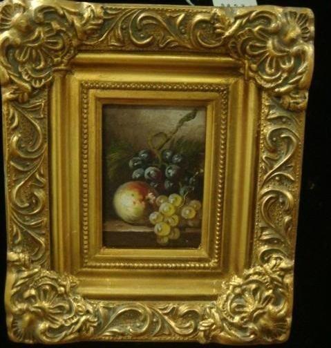 132: Small Oil on Board Fruit in Ornate Gold Frame: