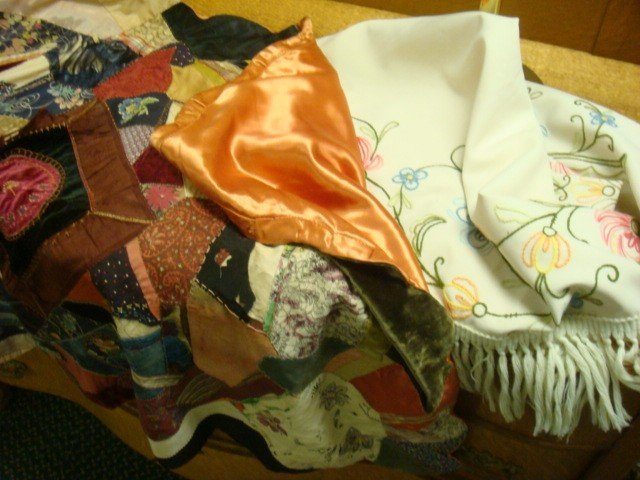 133: Crewel Fringed Shawl and Vintage Baby Crazy Quilt: