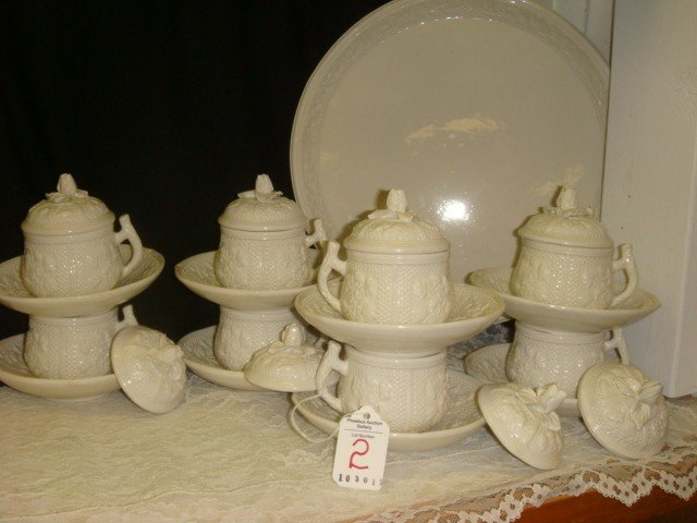 2: Italian Pots du Creme Creamware Set: