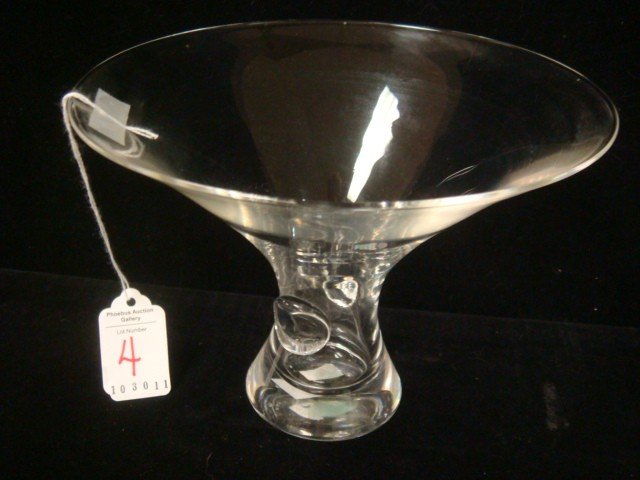 4: STEUBEN Signed Flared Top Crystal Vase: