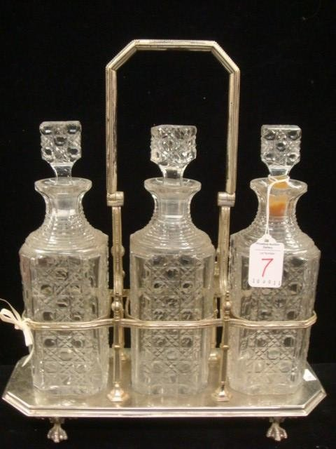 7: Three Decanter Tantalus, Block and Button Pattern: