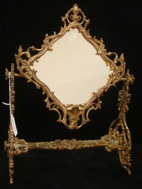 8: Victorian Dresser Mirror in Ornate Brass Frame: