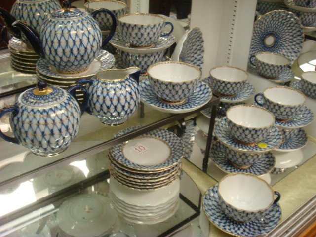 10: USSR Made Blue/White Porcelain 38 Piece Tea Set: