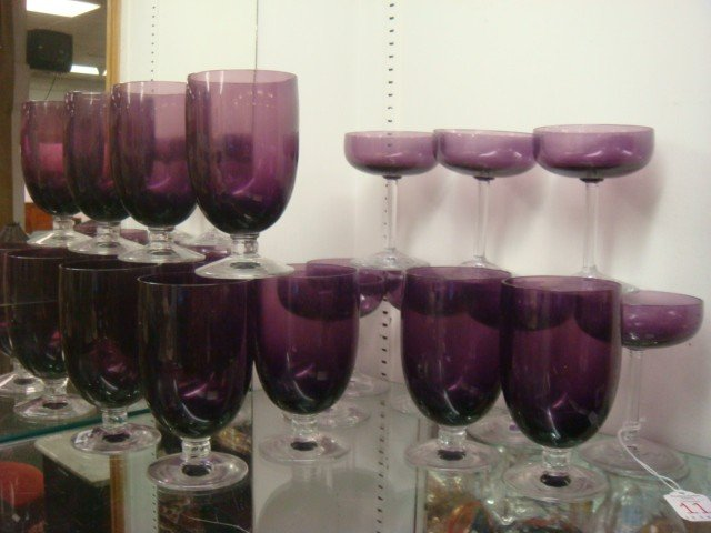 11: Twenty-Five FOSTORIA Crystal and Amethyst Glass Ste