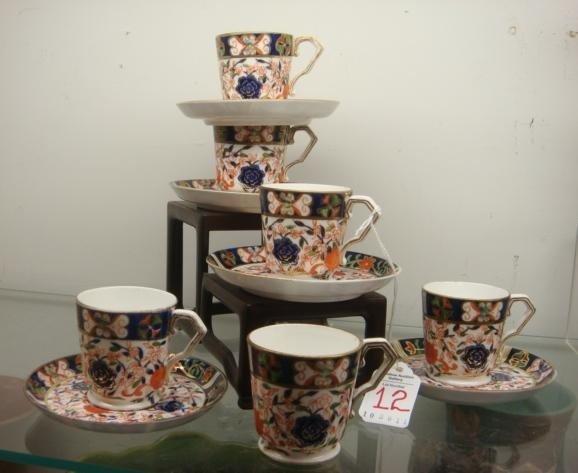 12: Set of CROWN DERBY Demitasse Cups and Saucers: