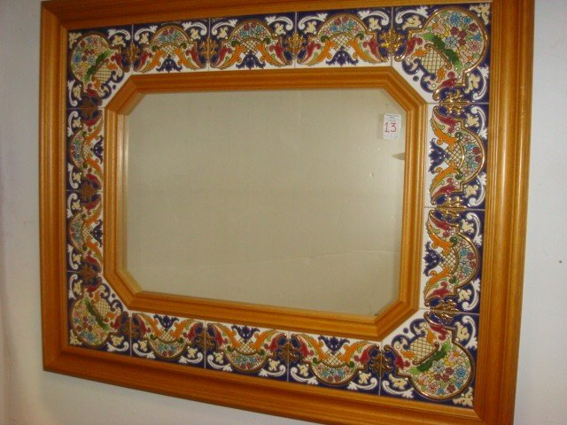 13: Tile Bordered Mirror in Maple Frame: