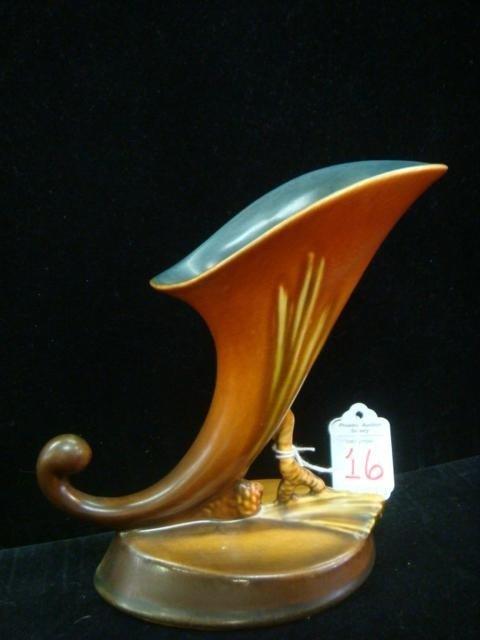 16: ROSEVILLE Pinecone Cornucopia Vase: