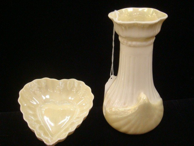 18: BELLEEK Luster Vase and Heart Dish, Green Mark: