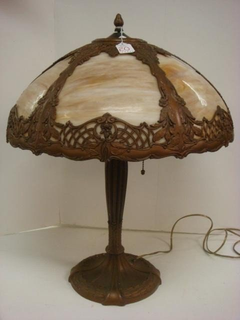 20: Six Panel Slag Glass Dome Lamp on Bronzed Base: