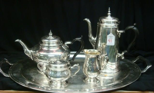 41: ONEIDA Heirloom Silver-plate Tea/Coffee Set w/Tray: