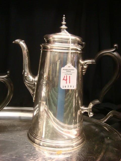 41: ONEIDA Heirloom Silver-plate Tea/Coffee Set w/Tray: - 2