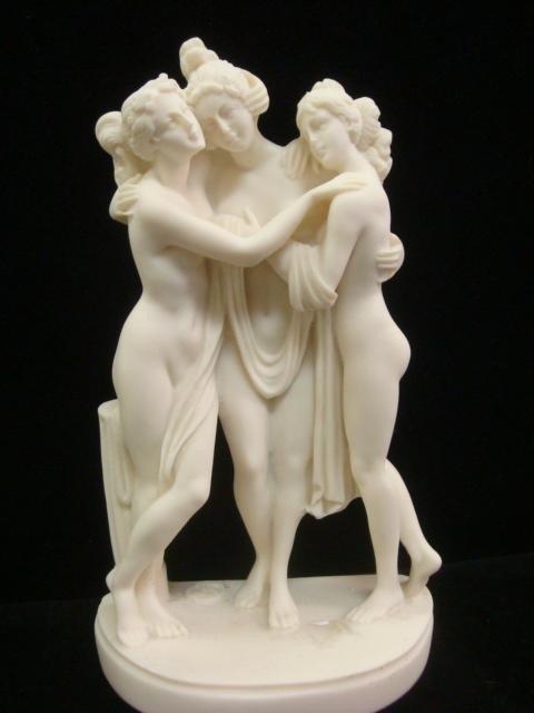 113: Three Handmade Greek Alabastrine Oxylite Statues: - 2