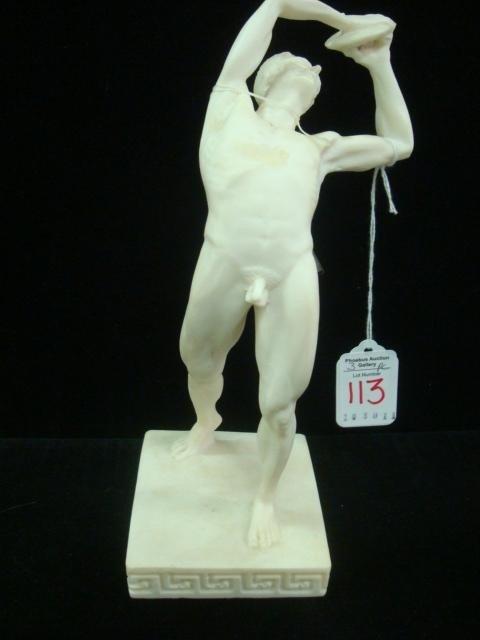 113: Three Handmade Greek Alabastrine Oxylite Statues: - 3
