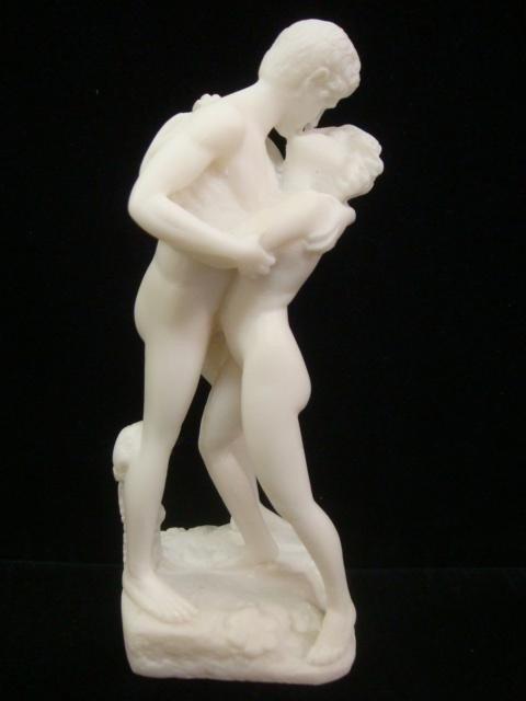 113: Three Handmade Greek Alabastrine Oxylite Statues: - 4