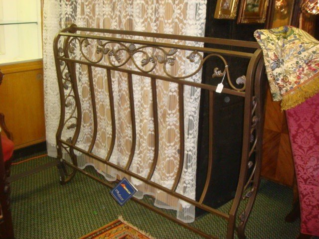 160: ASHLEY FURNITURE Bronzed Metal Sleigh Bed:
