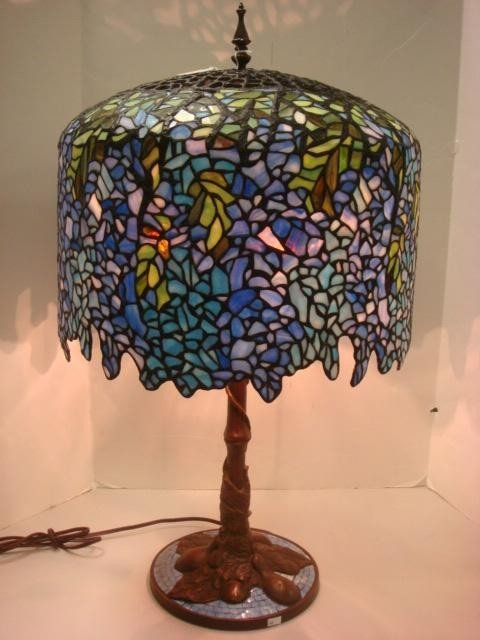 164: Beautiful Wisteria Slag Glass Lamp with Mosaic Bas