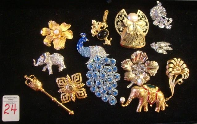 24: Signed and Unsigned Brooches, Some Rhinestone: