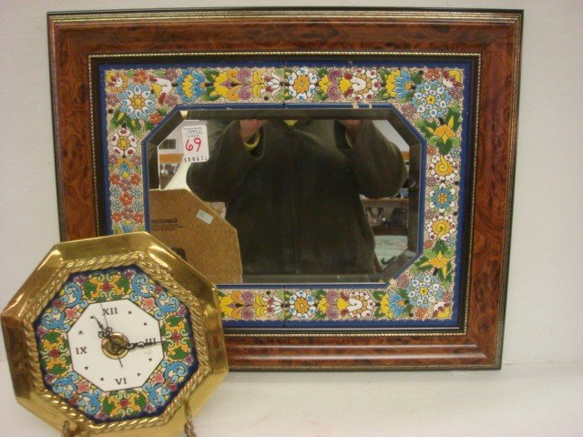 69: CEARCO Spanish Tile Bordered Mirror and Wall Clock: