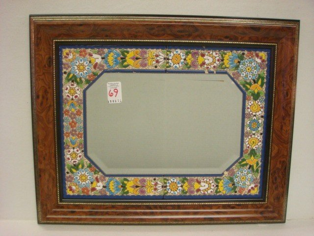 69: CEARCO Spanish Tile Bordered Mirror and Wall Clock: - 2