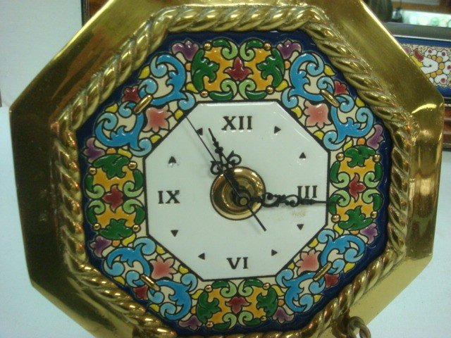 69: CEARCO Spanish Tile Bordered Mirror and Wall Clock: - 3