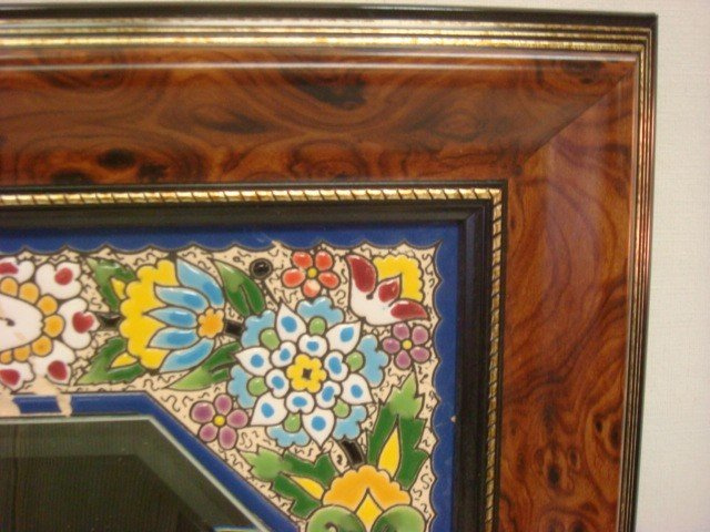 69: CEARCO Spanish Tile Bordered Mirror and Wall Clock: - 4