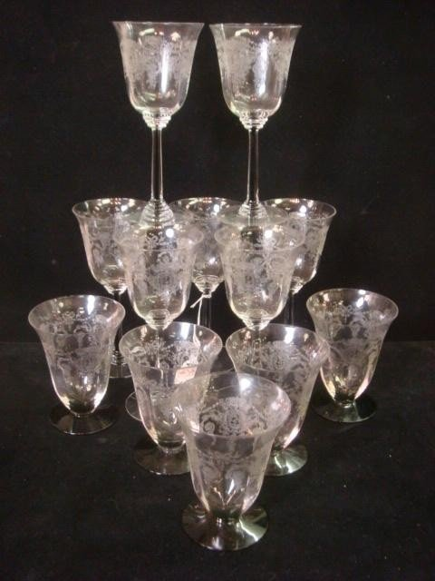 156: Twelve Etched Glass Stems and Tumblers:
