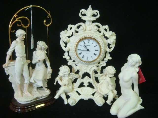 158: Composition Clock Frame, Armani and Greek Figurine