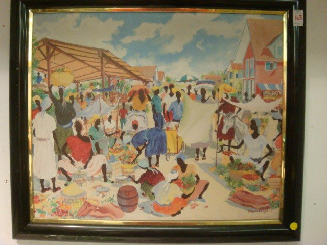 163: Signed HAROLD RIGAUD Haitian Market Oil on Canvas:
