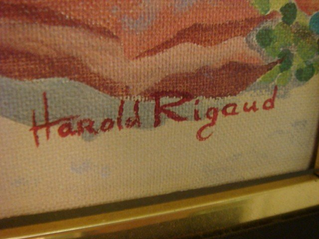 163: Signed HAROLD RIGAUD Haitian Market Oil on Canvas: - 3