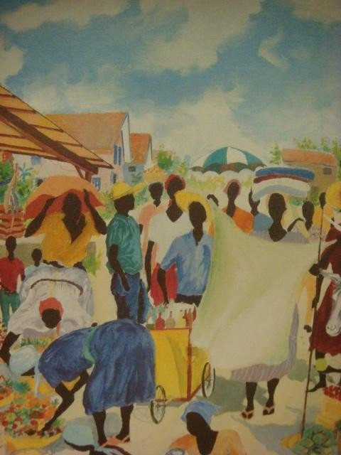 163: Signed HAROLD RIGAUD Haitian Market Oil on Canvas: - 4