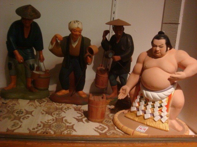 164: Sumo Wrestler, 3 Hakata Urasaki Japanese Clay Doll