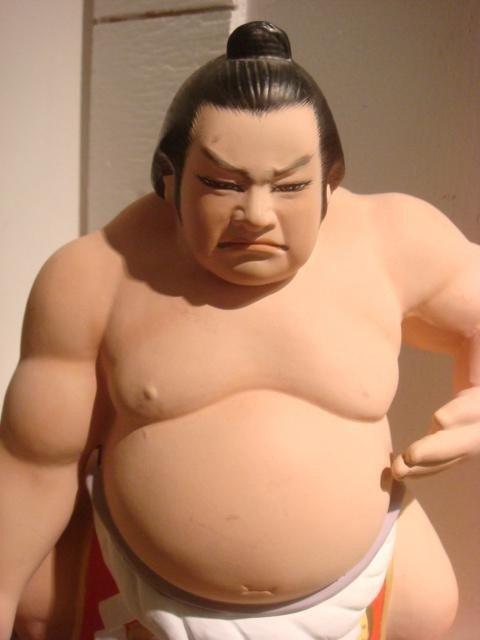 164: Sumo Wrestler, 3 Hakata Urasaki Japanese Clay Doll - 2