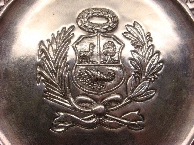187: WELSCH 900 Silver Peruvian Coat of Arms Plate: - 2