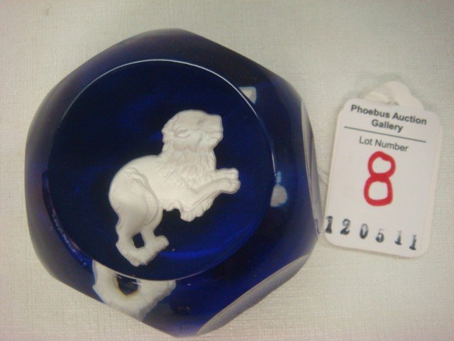 8: BACCARAT France Glass Leo Astrological Paperweight: