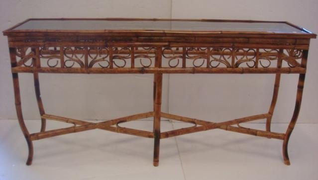 9: Bamboo Sofa Table with Glass Top: