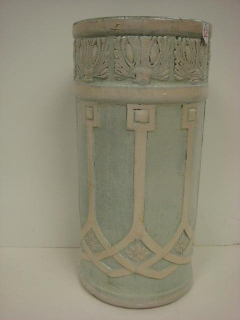 12: Vintage Yellow Ware Deco Influenced Umbrella Stand: