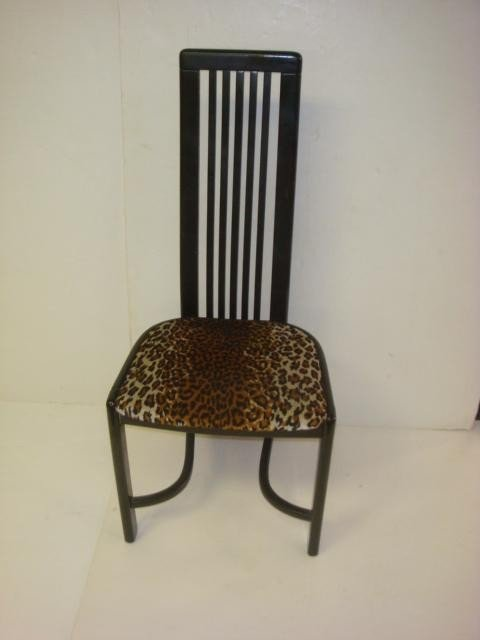 14: Six Retro Black Upholstered Dining Chairs: