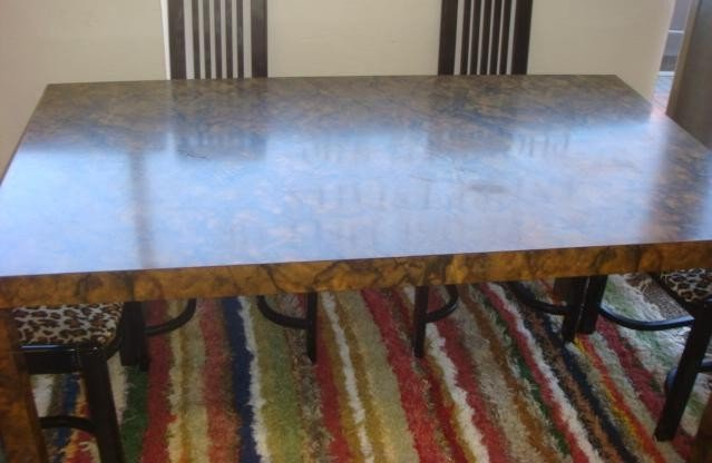 15: Lacquered Marble Finish Parsons Dining Table: