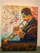 49 Signed STEVE SCHUMAN Trumpet Player Oil on Canvas