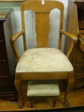 Splat Back Oak Arm Chair With Footstool:
